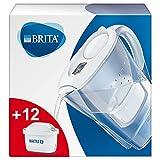 BRITA Wasserfilter Marella weiß inkl. 12 MAXTRA+ Filterkartuschen – BRITA Filter Starterpaket zur Reduzierung von Kalk, Chlor, Blei, Kupfer & geschmacksstörenden Stoffen im Wasser